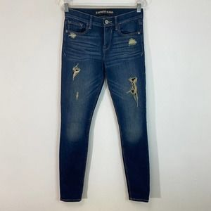 Express Legging Distressed Mid Rise Jeans